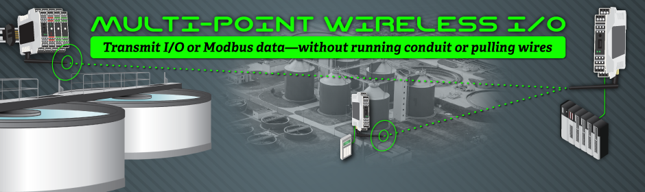 Multi-Point Wireless I/O, Transmit I/O or Modbus data